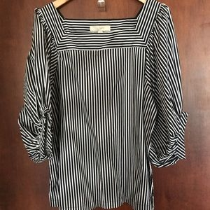 LOFT Striped Balloon Sleeve Top Size Large